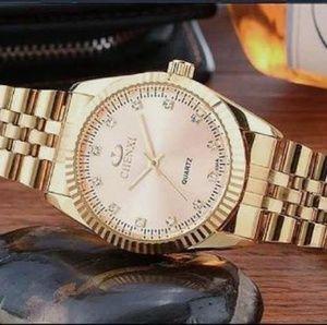 Mens Luxury Gold Watch. Adjustable Bracelet